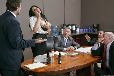 Buxom Lalin girl secretary Missy Martinez giving a tit smoking in office