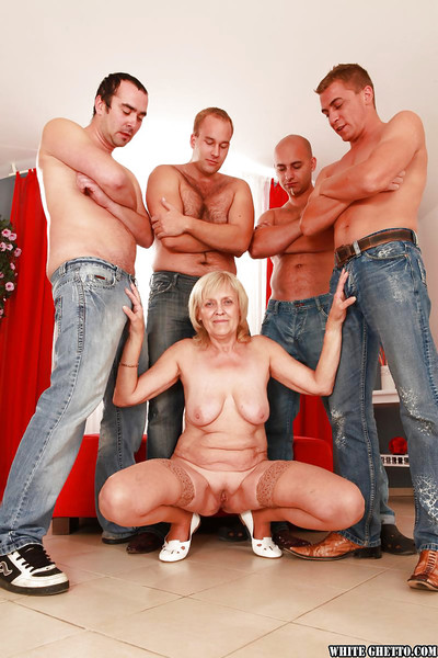 Sexually intrigued older obtains blowbanged and dug by four well-hung dick-holders