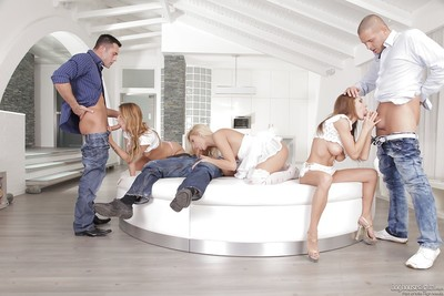 Hungry sweeties have a vehement groupsex with studly friends