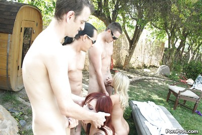 Seductive vixen Rio Lee is loves hardcore groupsex by the pool