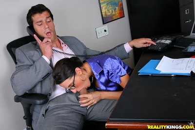 Sweaty milf with glasses Kortney Kane getting a stream of cum in the office