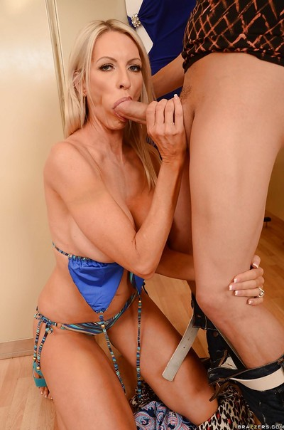 Lusty fairy-haired MILF Emma Starr gives a cocksucking and benefits from drilled hardcore