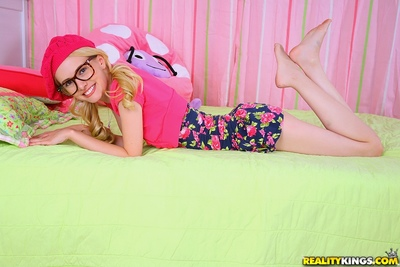 Classy fairy infant in glasses Kennedy Kressler fingering her uterus