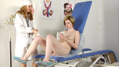 Titillative female-on-female fondles of a gyno doctor