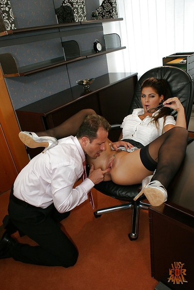 Office worker Defrancesca Gallardo having soaked cum-hole licked by co-worker