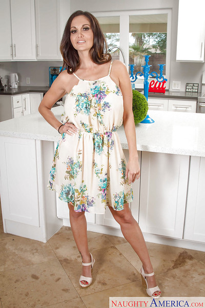 Infant milf beauty Ava Addams receives unclothed in the kitchen room alone