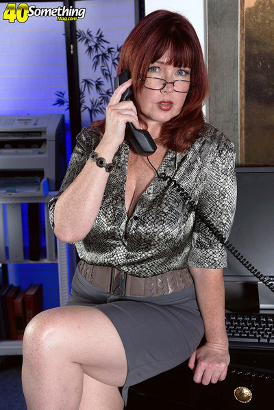 Redhead melodious secretary stroking