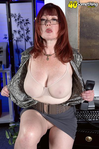 Redhead melodious secretary stroking