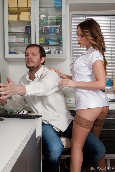 Spectacular nurse Aleska Diamond posing in nylons for her sweaty doctor