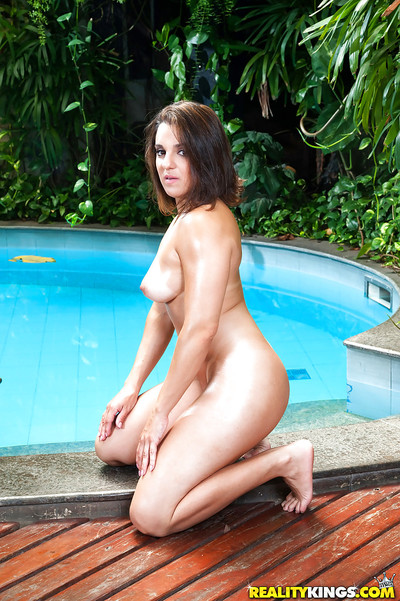 Latin cutie hottie Agatha Lee exposing gigantic mounds and arse outdoors by pool