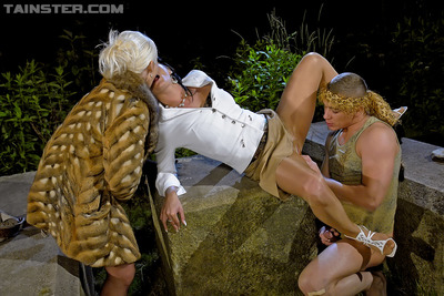 Entirely dressed MILFs Celine Noiret & Bibi Fox are fond of groupsex with a boy