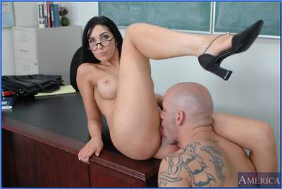 Beautiful educator in glasses Diana Prince lovely large stick in her cage of love