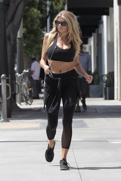 Charlotte mckinney shaking her milk sacks whereas jogging
