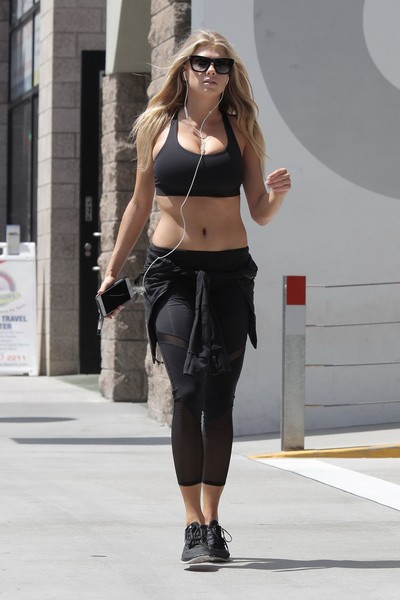 Charlotte mckinney shaking her milk sacks whereas jogging
