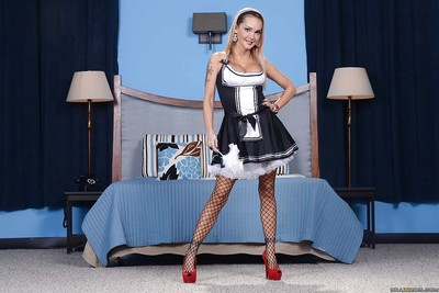 Perky doll in female servant uniform Devon is a sinful jacking off golden-haired