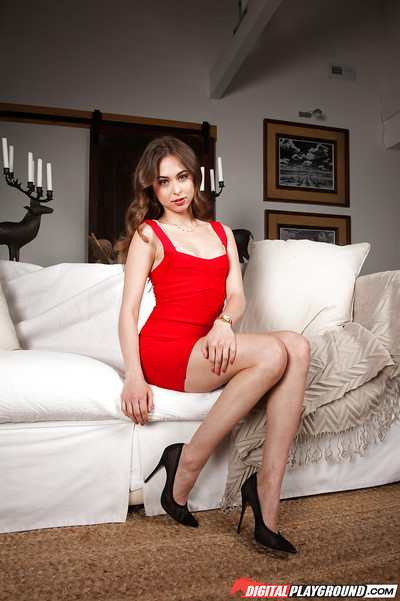 Leggy solo pattern in red clothing and high heels flashing upskirt underclothes