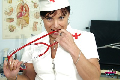 Mellow nurse in nylons spreads her twat by her fingers and sounder