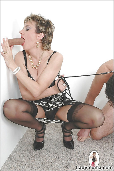 Perspired femdom has some gloryhole pleasure whereas her dude caress licking her high heels