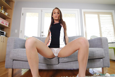 Slender Kacy Lane takes off her taut suit and shows her anal crack slit