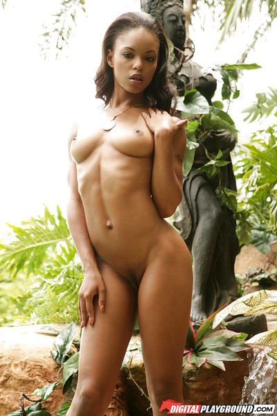 Milf Marie Luv shows us her appealing small-tit body outdoors!