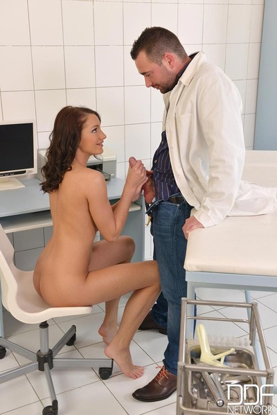 Sticky playgirl team-banged by her doctor