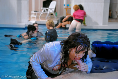 Lecherous MILFs in nylon  are attracted to hardcore CFNM pool gathering