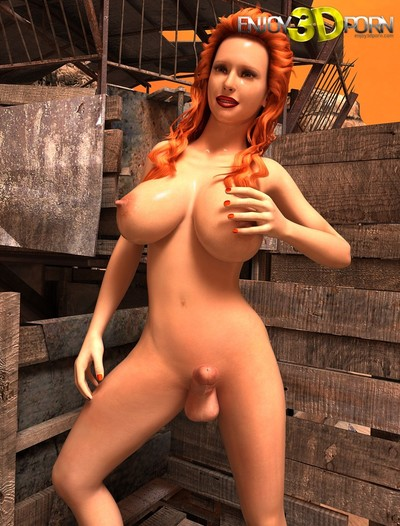 Breasty lascivious redhead transsexual with massive schlong