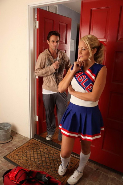 Sharp fairy-haired cheerleader getting dug