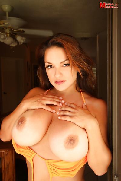 Immense bazookas milf Monica Mendez demonstrates her faultless pornstar butt