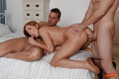 Hardcore two men plus one female copulation with anal penetration featuring courtesan Eva Burger