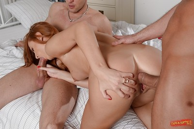 Hardcore two men plus one female copulation with anal penetration featuring courtesan Eva Burger