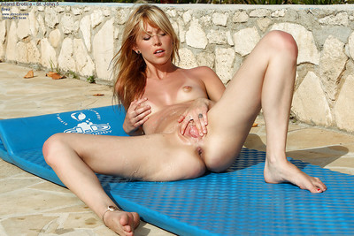 Seductive youthful juvenile fairy-haired jerking off her fur pie outdoor