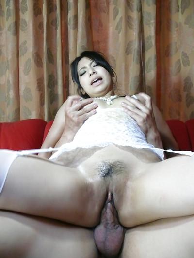 Stocking attired Jap honey Kanade Otowa sporting creampie exactly after MMF fucking action