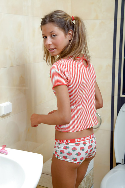 Fascinating youthful hottie with insignificant pointer sisters Paula K wanking her bawdy cleft in the shower-room