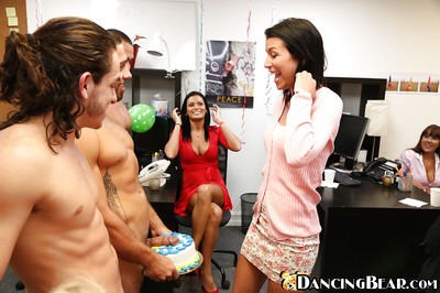 Sweet chicos are having an group sex munch at the office with blowjobs