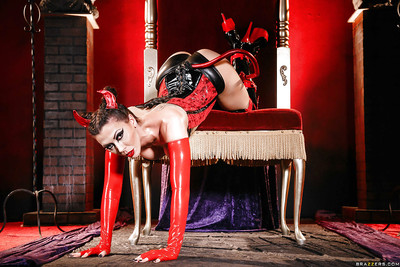 Decadent cosplay sample Rachel Starr modeling appealing latex uniform and boots