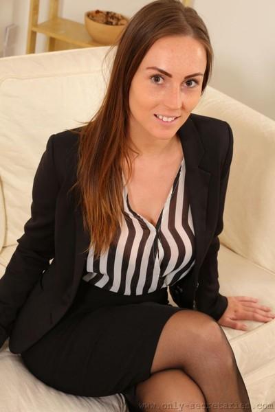 Topless boobsy secretary in nylons