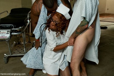 Lewd nurse obtains ganbanged by 5 patients in the psych ward!