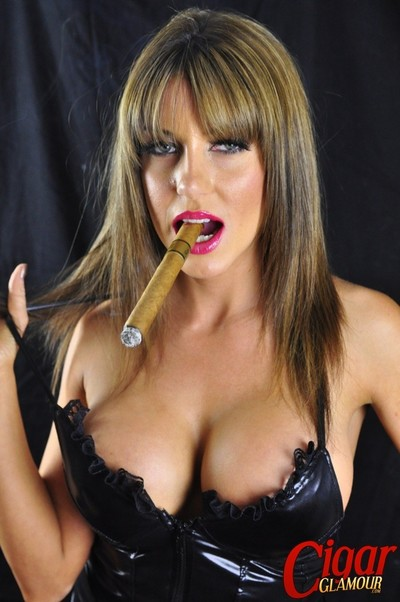 Gigantic bobbed doll talia smokes a astonishingly yearn cigar and shows off her