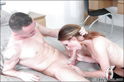 Obsession MILF in  gives a cocksucking and obtains her cum-hole licked