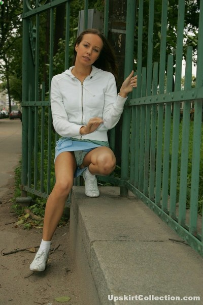 Spot glamorous pretty in jeans short skirt with white underclothing sexual spying
