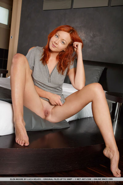 Redhead youthful solo queen Elen Moore expanding hairless wet crack afterwards undressing