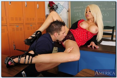 Excited tutor Helly Hellfire has some hardcore satisfaction in the classroom