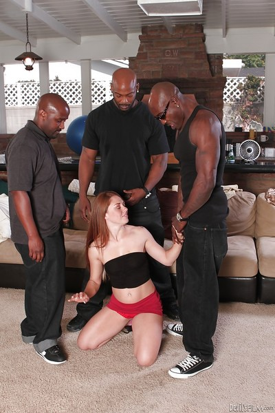 Appealing redhead playgirl Scarlett Appealing is percussion in a clammy interracial scene