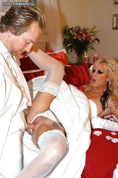 Brooke Banner shows off her shocking fur pie in a wedding clothing