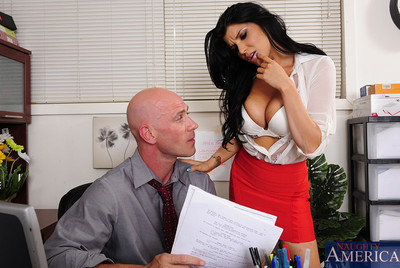 Stunning Romi Rain has sticky sexual act with a co worker and this babe admires his thick penis in her rigid pussy.