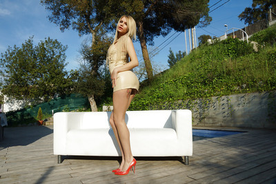 Leggy fairy-haired model Karina Heavenly showing off tattoos and waste outdoors