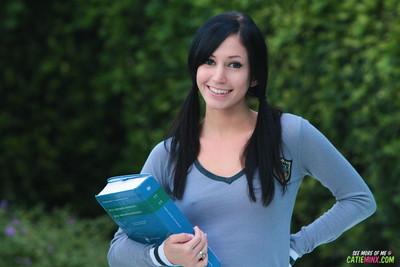 Schoolgirl catie minx in nylon nylons flashing outdoors