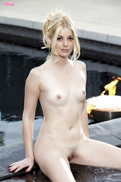 Admiraable blondie with pale skin posing as mother gave birth in the pool