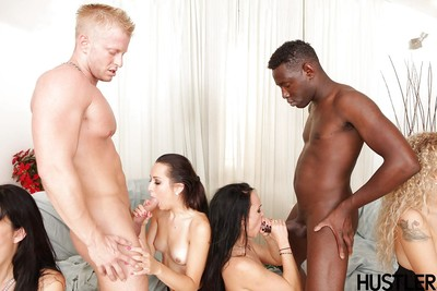 Interracial groupsex features pitiless DP penetration and goo swapping